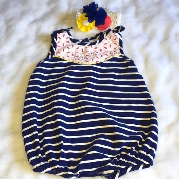 5043b072a Peaches 'n Cream Bottoms | Nwot Baby Girl Nautical Romper Striped ...